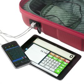 Troler Cabina ABS 2 Roti CarryOn TRANSFER USB extern 55 cm Rosu