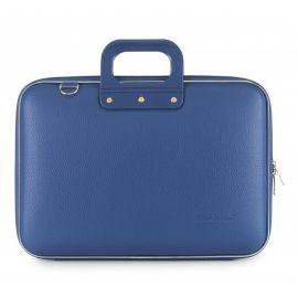 "Geanta lux business laptop 15"" Clasic vinil Bombata-Albastru cobalt"