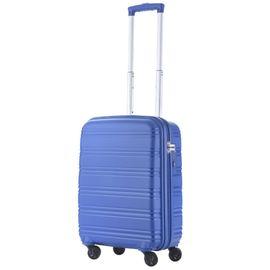 Troler Cabina Polipropilena 4 Roti TravelZ BIG BARS 55 cm Albastru