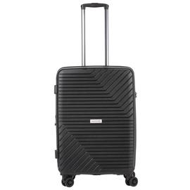 Troler Mediu Extensibil, Polipropilena, Cifru TSA, Cod unic OKOBAN, CarryOn TRANSPORT, 67.5 cm, Negru