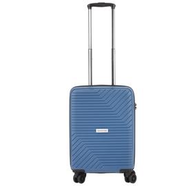 Troler Cabina, Polipropilena, Cifru TSA, USB incoporat, CarryOn TRANSPORT, 55 cm, Albastru