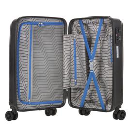 Troler Cabina, Polipropilena, Cifru TSA, USB incoporat, CarryOn TRANSPORT, 55 cm, Negru
