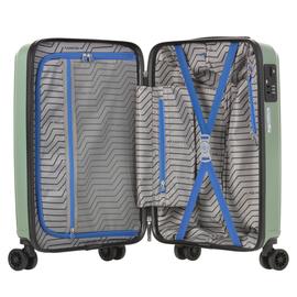 Troler Cabina, Polipropilena, Cifru TSA, USB incoporat, CarryOn TRANSPORT, 55 cm, Verde