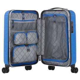 Troler Cabina ABS/PC, Cifru TSA, USB incorporat, CarryOn CONNECT, 55 cm, Albastru