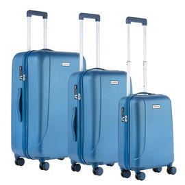 Set Trolere, Policarbonat/ABS, 4 Roti Duble, cod unic OKOBAN, cifru TSA, CarryOn SKYHOPPER, 3 Piese, Albastru
