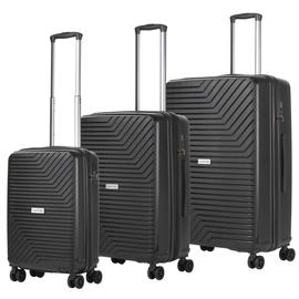 Set trolere Polipropilena, Cifru TSA, USB incorporat, cod unic OKOBAN, CarryOn, TRANSPORT, 3 Piese, Negru