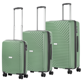 Set trolere Polipropilena, Cifru TSA, USB incorporat, Cod unic OKOBAN, CarryOn TRANSPORT, 3 Piese, Verde