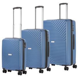 Set trolere Polipropilena, Cifru TSA, USB incorporat, Cod unic OKOBAN, CarryOn TRANSPORT, 3 Piese, Albastru
