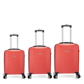 Set Trolere ABS, 4 Roti Duble Detasabile, Cifru TSA, BENZI, BZ 5357, 3 Piese Portocaliu