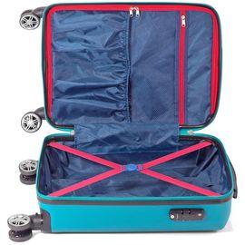 Troler Mare, ABS, 4 Roti Duble Detasabile, Cifru TSA, BENZI, BZ 5357 - 76 cm Albastru Deschis