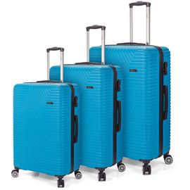 Set Trolere ABS 4 Roti Duble Benzi BZ 5492 - 3 Piese Albastru Deschis