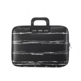 "Geanta lux business laptop 15.6"" Medio Bombata Negru/Alb"