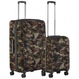 Set Trolere Polietilena/Poliester 4 Roti Duble Cifru TSA Cod Unic Okoban CarryOn Hybrid Camouflage 502439- 2 Piese