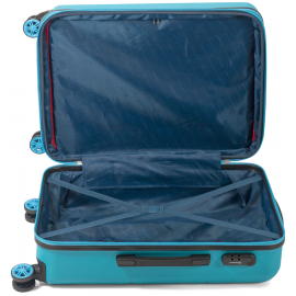 Troler Mediu Extensibil ABS 4 Roti Duble Benzi BZ 5525 - 66 cm Albastru Deschis