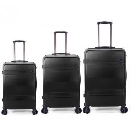 Set Trolere ABS 4 Roti Duble Benzi BZ 5557 - 3 Piese Negru