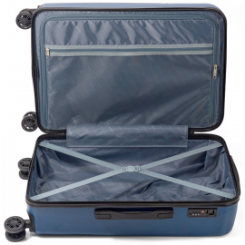 Troler Cabina ABS 4 Roti Duble Benzi BZ 5557 - 54 cm Albastru