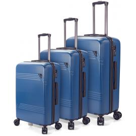 Set Trolere ABS 4 Roti Duble Benzi BZ 5557 - 3 Piese Albastru