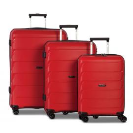 Set Trolere, Worldpack, Polipropilena, 4 Roti Duble, Cifru TSA, F10392 - 3 Piese, Rosu
