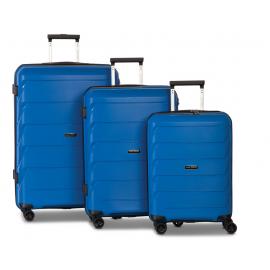 Set Trolere, Worldpack, Polipropilena, 4 Roti Duble, Cifru TSA, F10392 - 3 Piese, Albastru