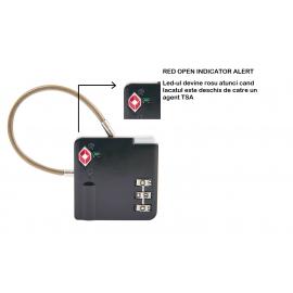 Lacat cu cifru TSA, D&N, cu LED de avertizare deschidere bagaj, DN4443, Negru