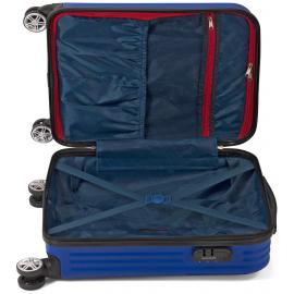 Troler Cabina ABS 4 Roti Duble Benzi BZ 5524 - 54 cm Albastru