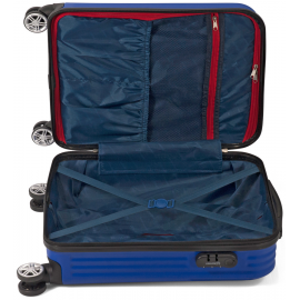 Troler Mediu ABS 4 Roti Duble Benzi BZ 5524 - 66 cm Albastru