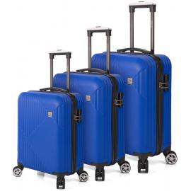 Set Trolere ABS 4 Roti Duble Benzi BZ 5524 - 3 Piese Albastru