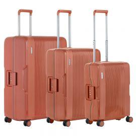 Set Trolere, Polipropilena, 4 Roti Duble, Cifru TSA, Cod unic Okoban, CarryOn, Protector, 502470 - 3 Piese, Caramiziu
