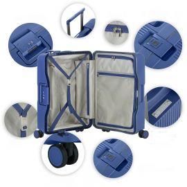 Set Trolere, Polipropilena, 4 Roti Duble, Cifru TSA, Cod unic Okoban, CarryOn, Protector, 502465 - 3 Piese, Albastru