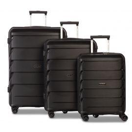 Set Trolere, Worldpack, Polipropilena, 4 Roti Duble, Cifru TSA, F10392 - 3 Piese, Negru