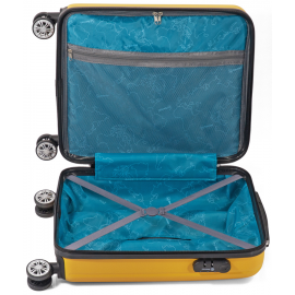 Troler Mare, ABS, 4 Roti Duble, Cifru, Benzi, BZ 5491 - 75 cm, Verde