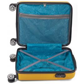Troler Mediu, ABS, 4 Roti Duble, Cifru, Benzi, BZ 5491 - 65 cm, Rosu