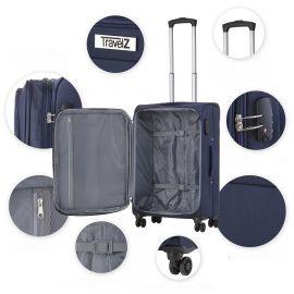 Troler Mare, Extensibil, TravelZ, Softspinner, Nylon, 4 Roti Duble, 601786 - 77 cm, Bleumarin