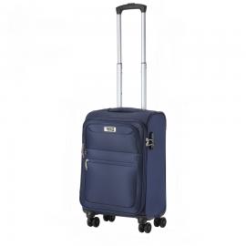 Troler Cabina, TravelZ, Softspinner, Nylon, 4 Roti Duble, 601786 - 55 cm, Bleumarin