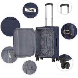 Set Trolere, TravelZ, Softspinner, Nylon, 4 Roti Duble, 601786 - 3 Piese, Bleumarin