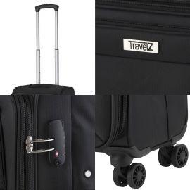 Troler Mediu, Extensibil, TravelZ, Softspinner, Nylon, 4 Roti Duble, 601782 - 67 cm, Negru