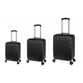 Set Trolere, Stelxis, ABS, 4 Roti Duble, Cifru TSA, ST 530 - 3 Piese, Negru