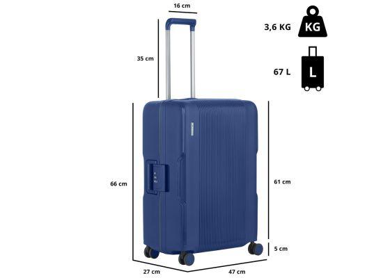 Troler Mediu, Polipropilena, 4 Roti Duble, Cifru TSA, Cod unic Okoban, CarryOn, Protector, 502465 - 66 cm, Albastru