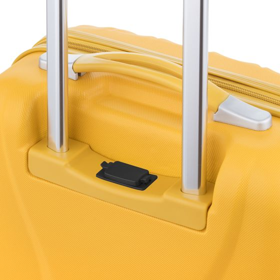 Troler Cabina cu Port USB Policarbonat/ABS 4 Roti CarryOn WAVE 54 cm Galben Mustar