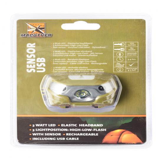 Lanterna frontala cu Senzor - Tip Incarcare USB 100 Lumeni MacGyver 102272